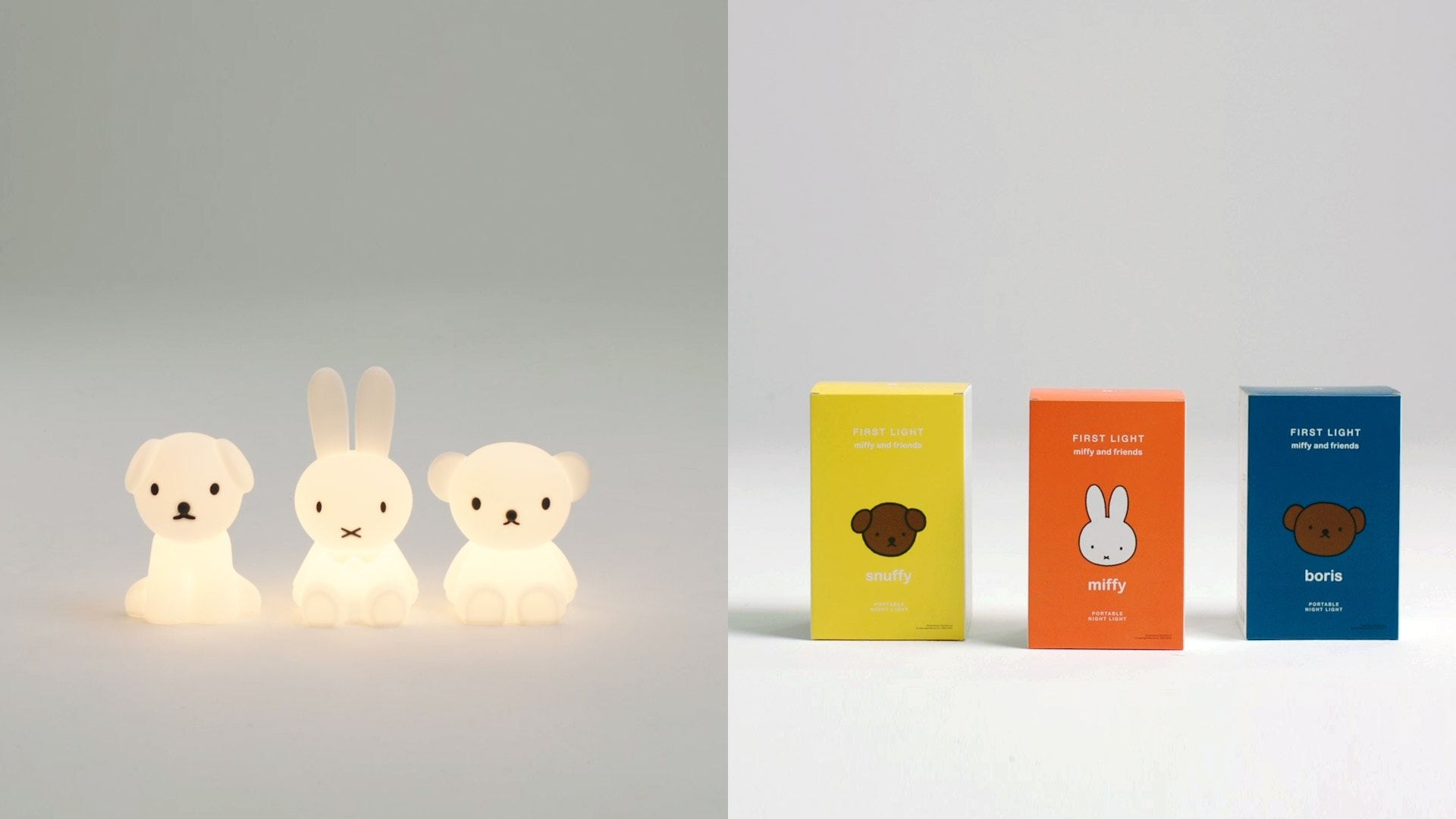 Snuffy, Miffy and Boris Night lights and Packaging
