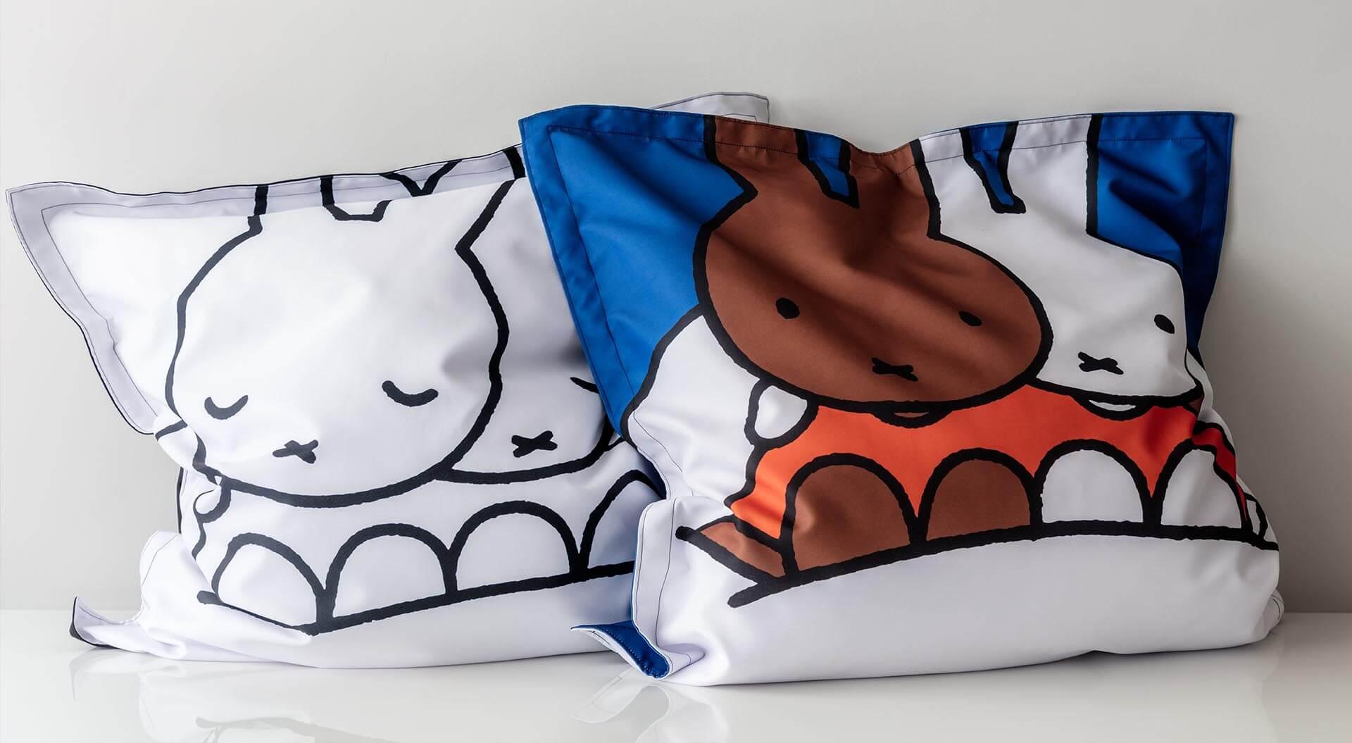Mr Maria zitzakken collectie ontwerp met illustratie van Dick Bruna nijntje en nina op een wolk - nijntje Dreambag